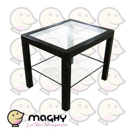 Tavolino nero con doppio ripiano - 120,00 € - Solo online: http://www.maghy.eu/arredamento/171-tavolino-nero-con-doppio-ripiano.html -  Codice: tavolino-doppio-ripiano - Articolo nuovo EX ESPOSIZIONE MOBILIFICO - Peso cad.: 8 kg - Dimensioni: 50x40x40(H) cm