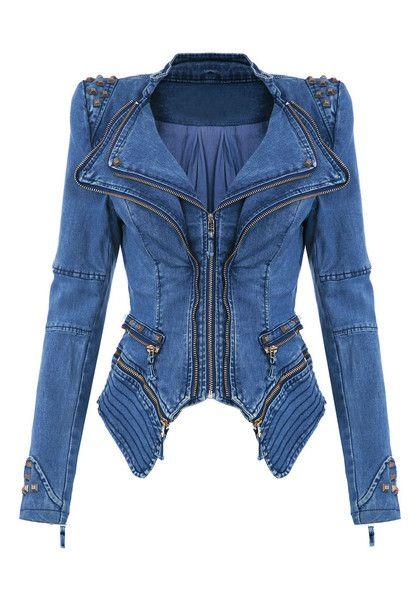 Studded Shoulder Denim Blazer - Blue - Super Cool Tuxedo Blazer #streetstyle