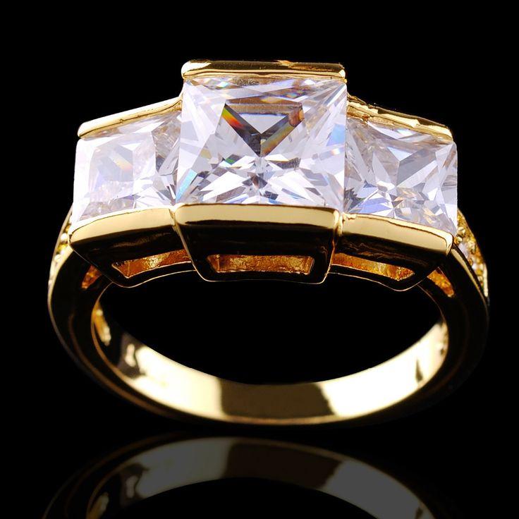 Мода ювелирных изделий белый сапфир белые кольца женская 10KT желтый кольцо для женщин подарок