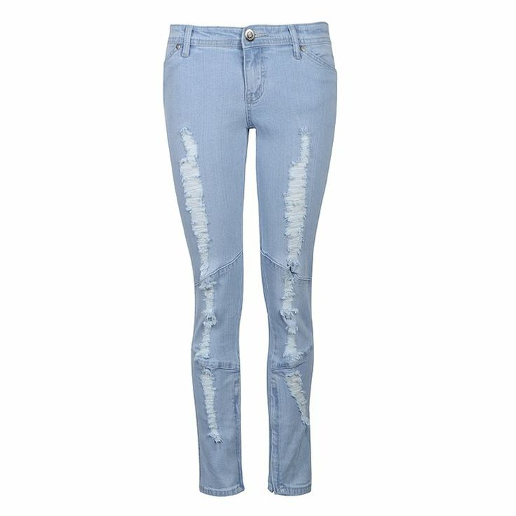 Ankle length jeans in light washed ripped style
