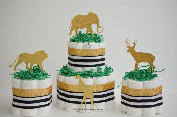 Gold Safari baby shower/ Gold diaper cake/ by LittleOrchidStudio