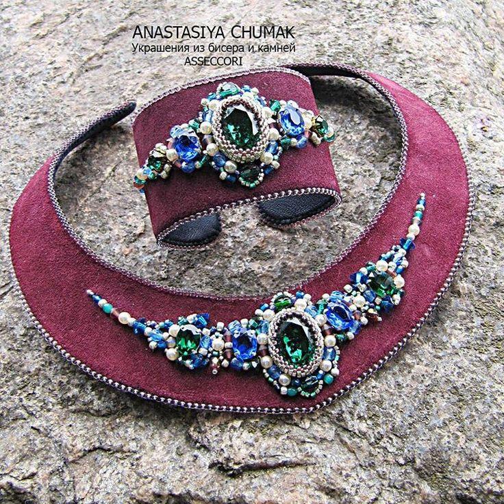 Комплект Бургунди! #anastasiyachumak #accessories #авторскиеукрашения #вышивкабисером #весна #модныйцвет #зеленый #яркиекраски #украшениядляженщин #украшенияручнойработы #украшения #jewelry #beadedjewelru