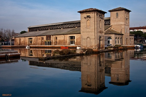 The old Salt warehouses. Nowadays they host exhibitions, fairs, concerts, conferences. (Cervia, Italy)