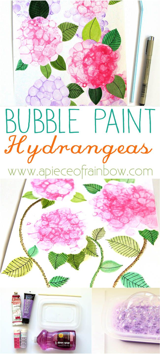 So Easy and Fun! Make Bubble Paint Flower Hydrangeas + Bubble Paint Recipe!