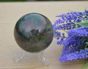 Cristallo di bella Bloodstone 5,5 cm sfera campione di minerale guarigione meditazione Chakra Reiki pietra