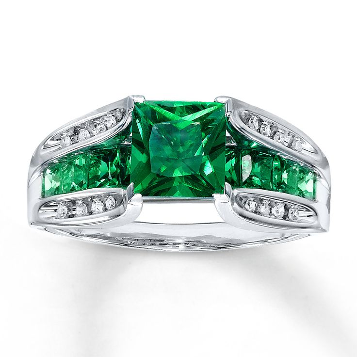 Lab Created Emerald Ring Diamond Accents 10K White Gold