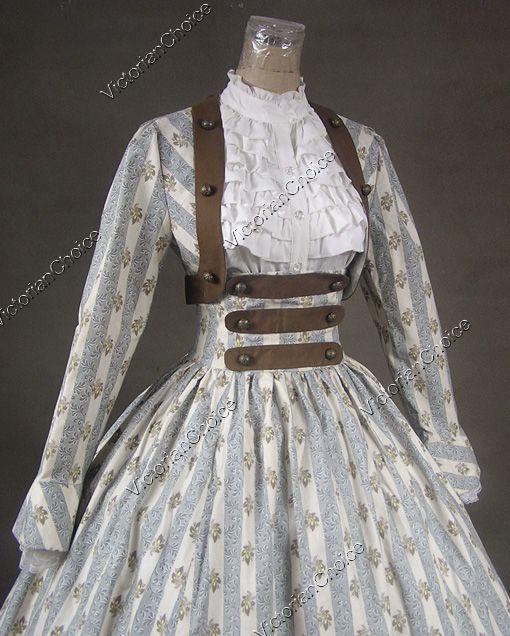 Civil War Gowns | Civil War Victorian Cotton Blends Ball Gown Day Dress Reenactment 187 ...
