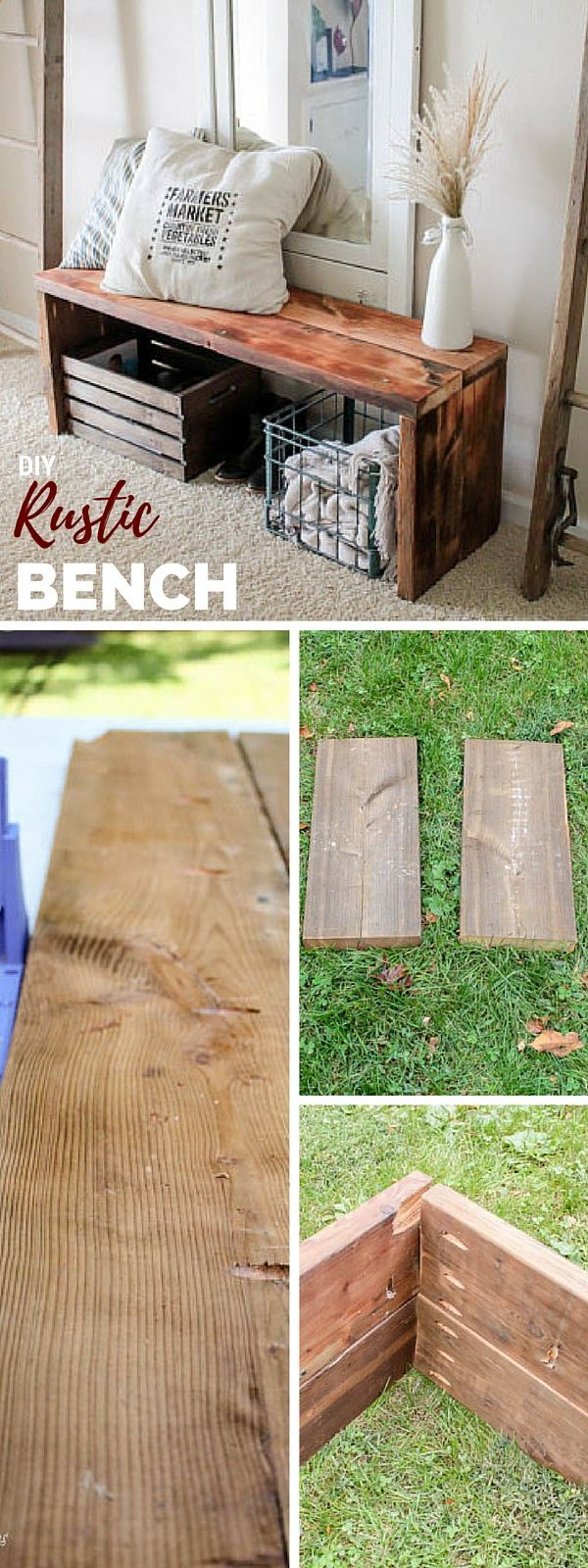 Rustic bench or step stool idea for kids