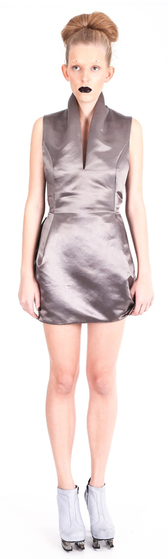 Dress ( silk satin), shoes ( leather, stainless-steel heel)