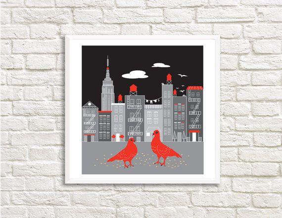 New York Pigeons Art High Resolution 30 x 30 by LittleLotusFlowers