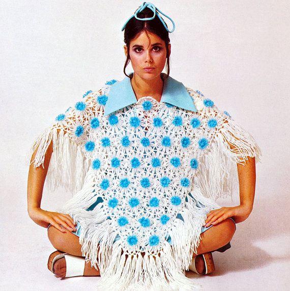 Vintage 1970s Crochet & Flower Loom Pattern   Lacy Bohemian Hippie Poncho   by 2ndlookvintage, $3.00