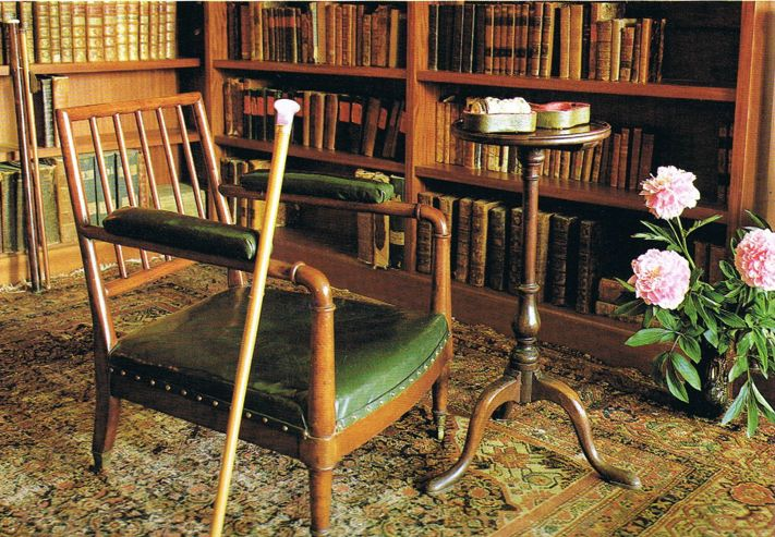 """finethankyouandyou: """" """"A corner in Alexander Sergeevich Pushkin's study where he liked to sit and read. A few of his collected walking sticks lean against the chair and shelves."""""""