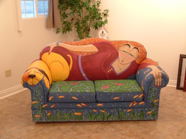 Hand Painted Couch by Barn to be Wild