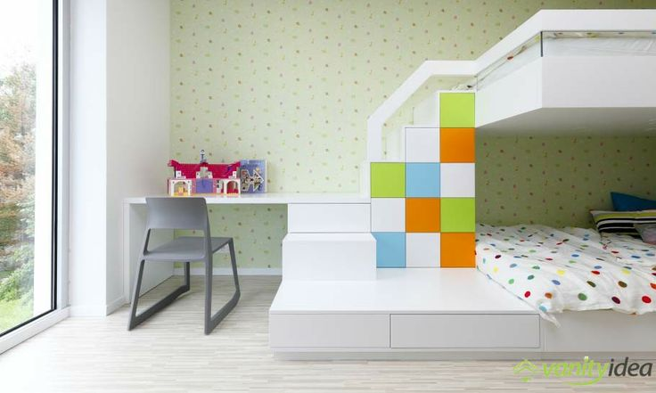 the kids room is decorated in modern colors