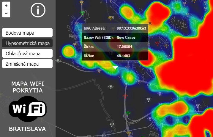 Mapa WiFi pokrytia v Bratislave...