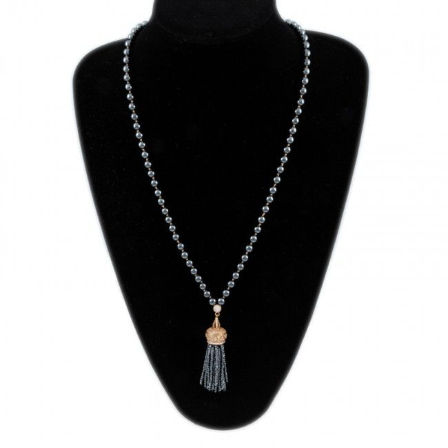 Rosary from Hematite with goldplated crown of zircon 166€