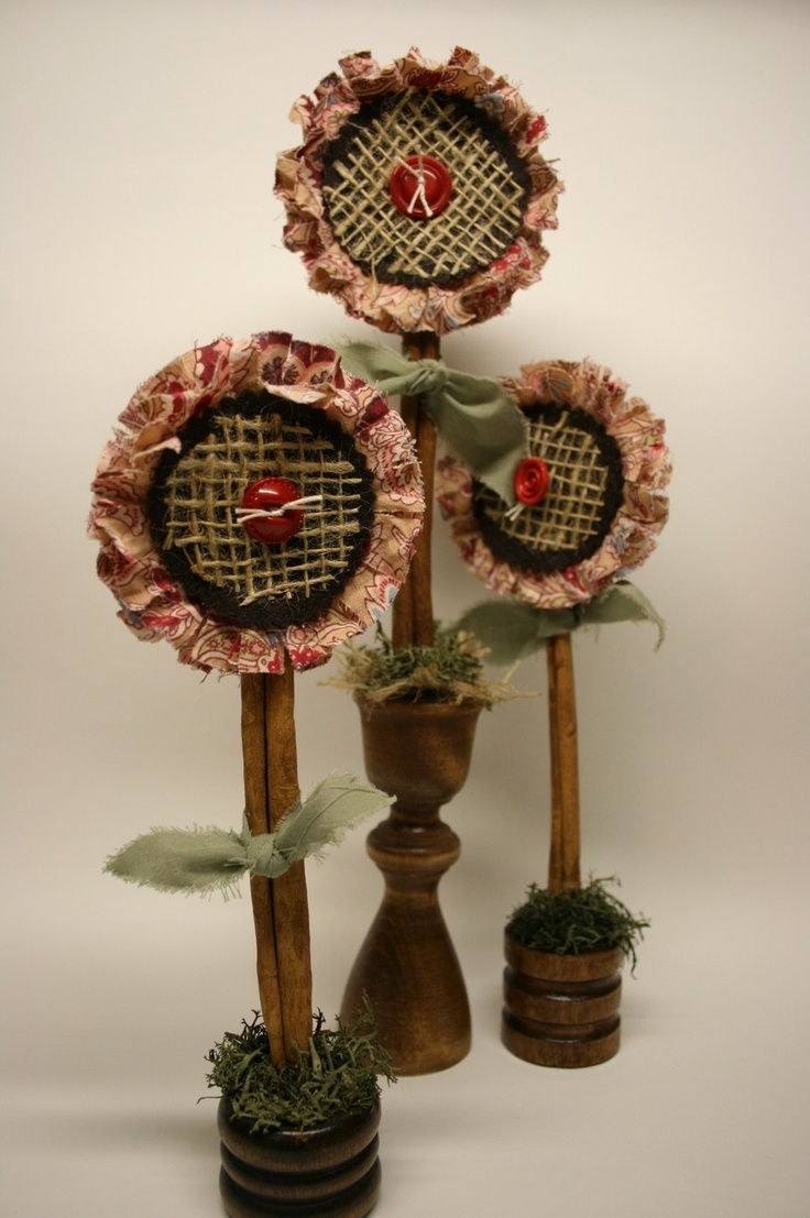 Primitive Country Rag Flowers. $12.00, via Etsy.