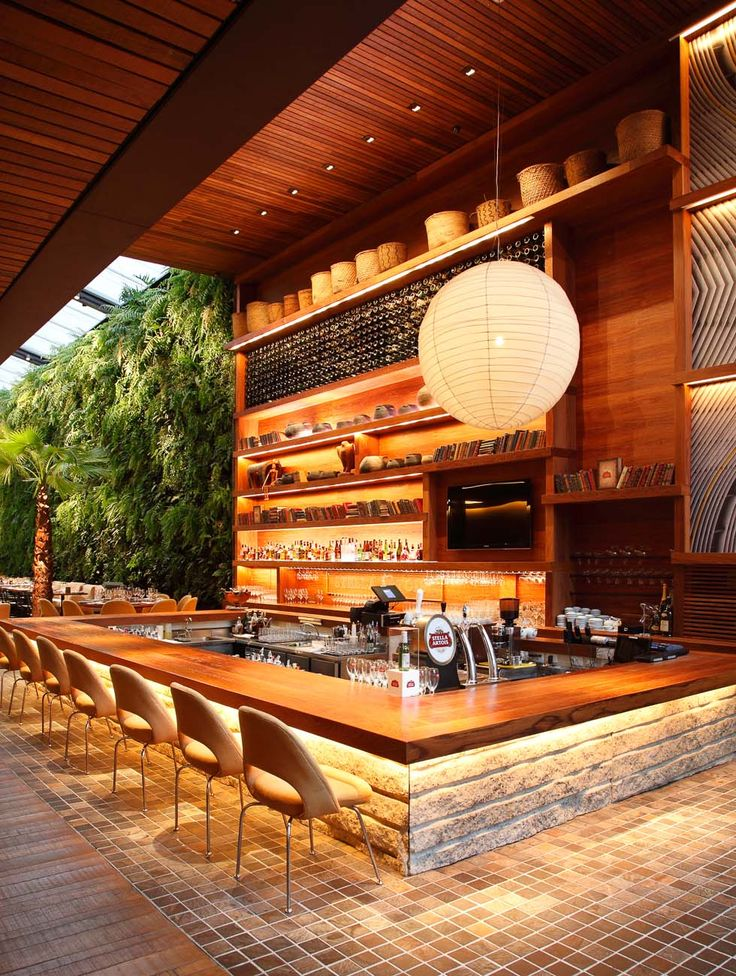 Downlight At Bar, Lantern, Wood Ceiling, Living Wall