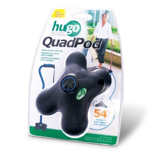 Hugo Mobility Quadpod Ultra Stable Cane Tip with Compact Quad Design 3/4 Inches Black