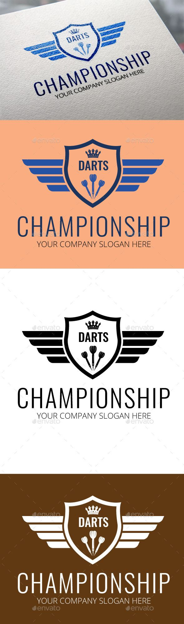 Darts Championship Logo Template by pixelscube Logo of Darts Championship. It can be used for darts sports or business and company. CMYK, Full vectors, this logo can be easily