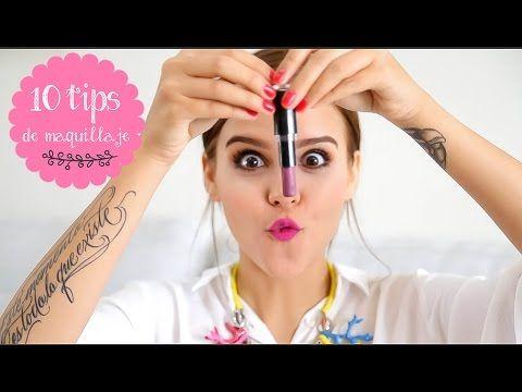 Tips de maquillaje ♥ - Yuya - YouTube (Maquillaje roto: con el calor del fuego unir la pieza rota del maquillaje ) (No mancharte los dientes con tu labial puesto: con un pañuelo ponerlo en tus labios y encima del pañuelo poner polvo translúcido ) y Listo