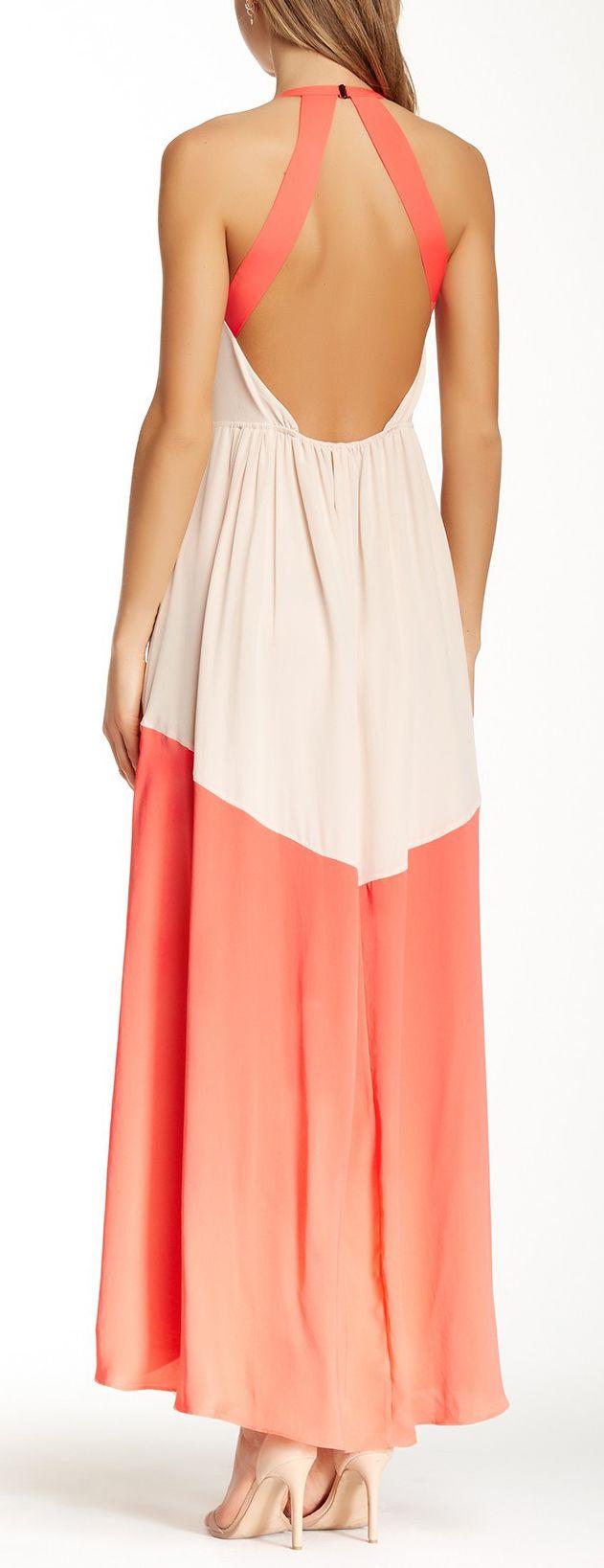 #Silk #Coral #Colorblock #Maxi