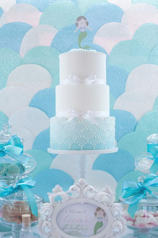 Mermaid Theme: The Cake and the background - wonder if you could create the backdrop with paper plates