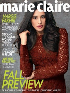 Nargis Fakhri on The Cover of Marie Claire Magazine India August 2012.   Bollywood Cleavage