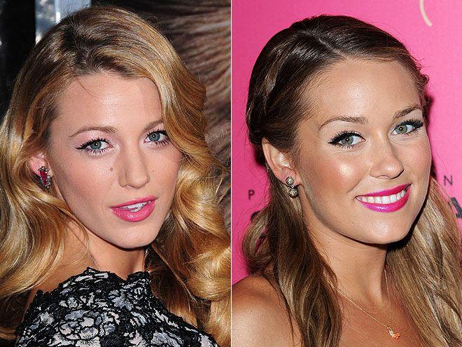 GLOSSY HOT-PINK LIPS - Blake Lively, Lauren Conrad: Hair Styles, Hot Pink Lipsticks, Blake Lively, Hair Makeup, Glossy Lips, Lip Colors, Bright Pink Lips, Beauty, Lauren Conrad