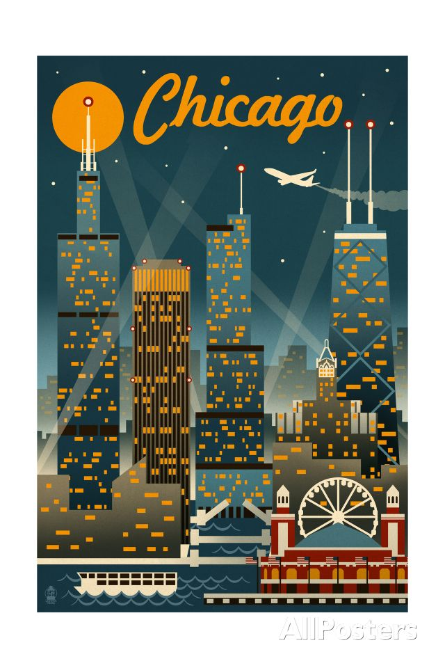 Chicago Illinois – Retro Skyline Art Print at AllPosters.com