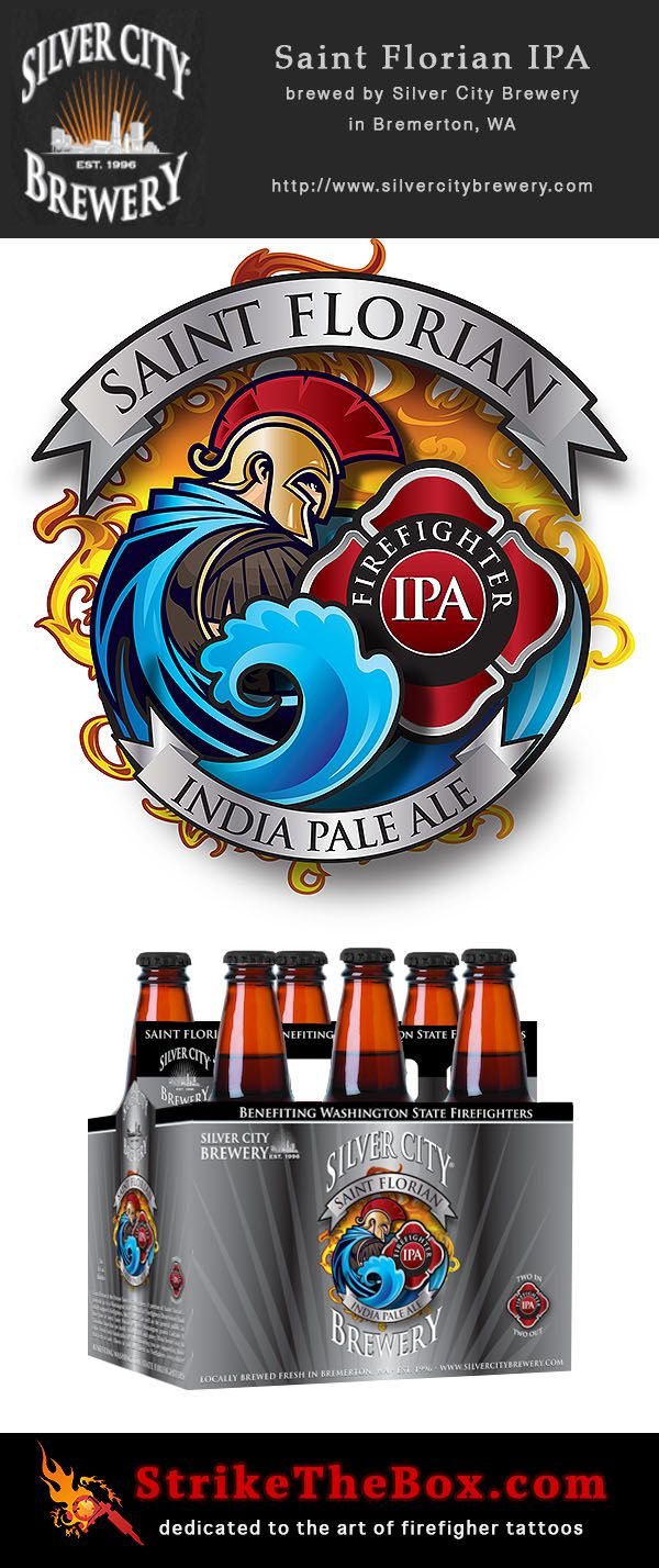 I love the design of this logo for Saint Florian India Pale Ale. It is brewed by Silver City Brewery in Washington state.  http://www.silvercitybrewery.com/brewery_website/ipa.htm