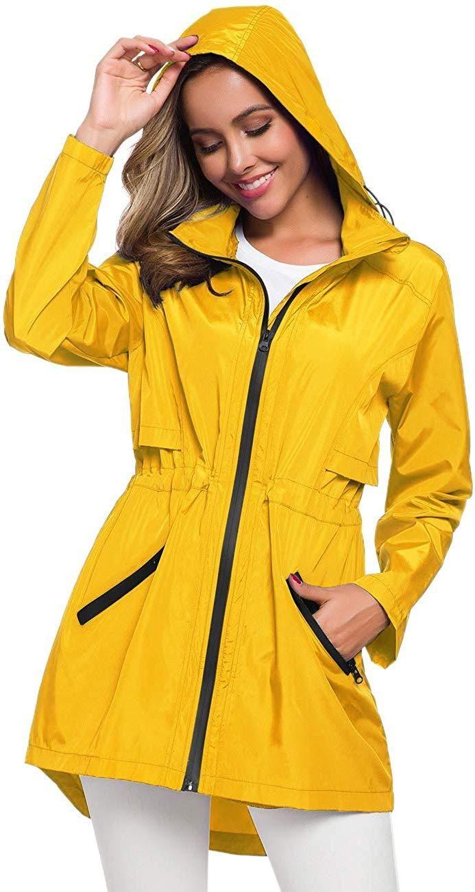 Avoogue Rain Jacket Women Waterproof Raincoat with Hood Plus Size Lightweight
