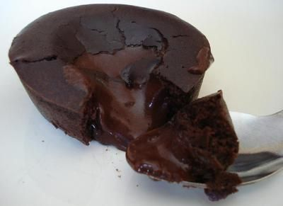 postres que no engordan - volcan de chocolate
