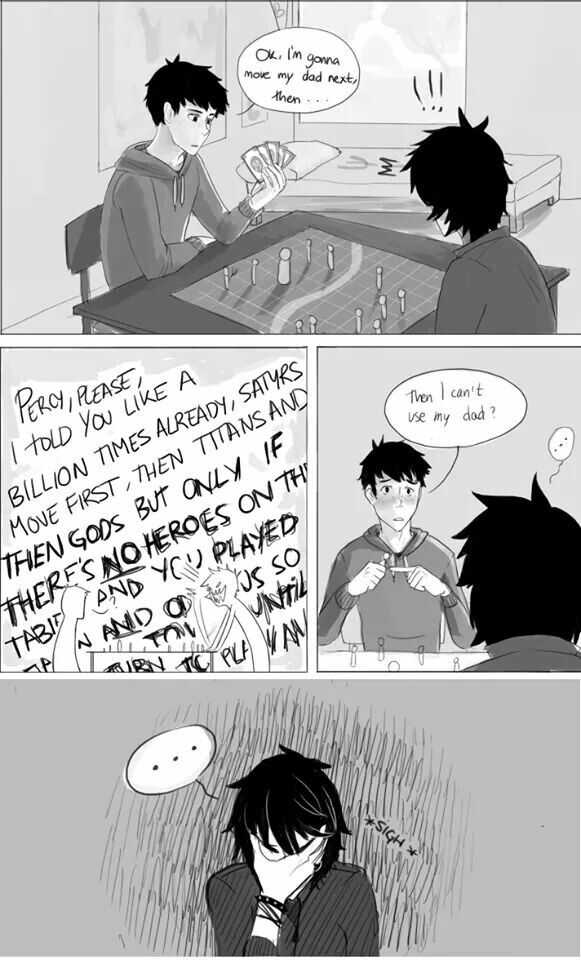 Percy and Nico playing Mythomagic. ~ Dude this is about my favorite thing ever! Like I love any of the things with people playing Mythomagic, like the on with Nico and Frank. LOL!!!! But this is my favorite.