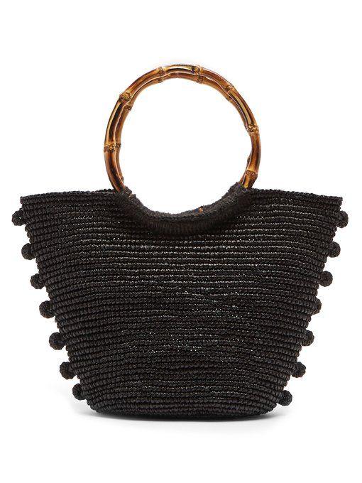 89e83f9192b Sensi Studio Pompom-embellecido cesta de paja-bolsa de cesta