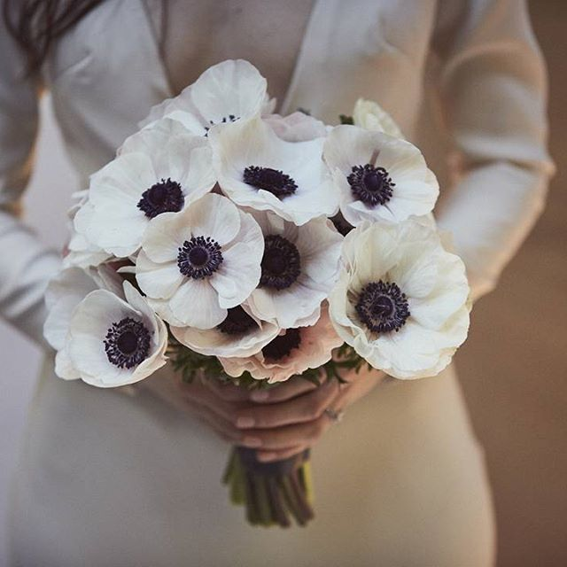 You don't always have to mix flowers to create a stunning bridal bouquet. This beautiful bouquet of all clustered white anemone.  Photography by Love Liz Photography