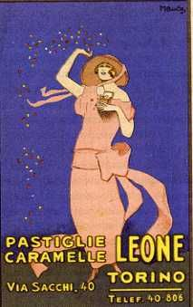 Cartolina pubblicitaria degli anni venti della fabbrica di caramelle e pastiglie Leone