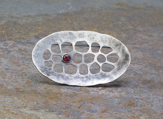 Cell Brooch, Hammered Sterling Silver with Tiny Garnet by Leslie Zemenek for Z Leslie Jewelry on Etsy