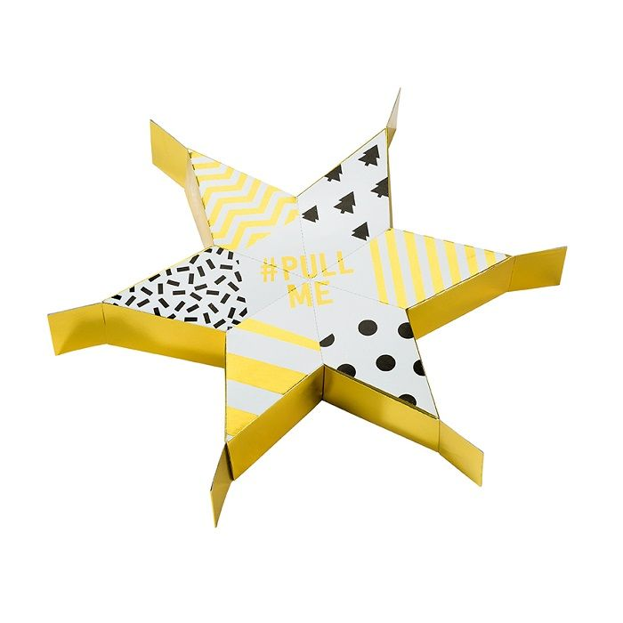 Sharing Party Pull Me Cracker: Gather around this Christmas and share the festive spirit with something a little different this year. Introducing a brand new star shaped cracker!  Fun for all the family, it takes six guests to pull apart this brand new cracker and reveal its festive contents, including party props for some Christmassy photos, paper Christmas hats, star scatter, disguises, jokes and trivia.