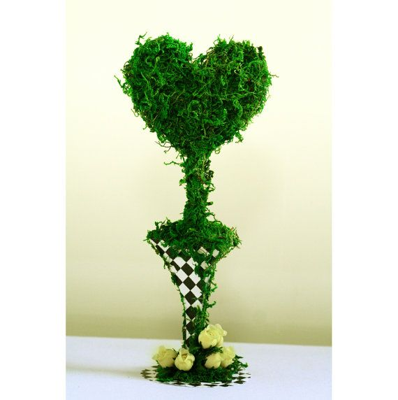 Artificial moss heart tree pot wedding Mad Hatter tea party Alice in wonderland table centerpiece decoration bridal baby shower props
