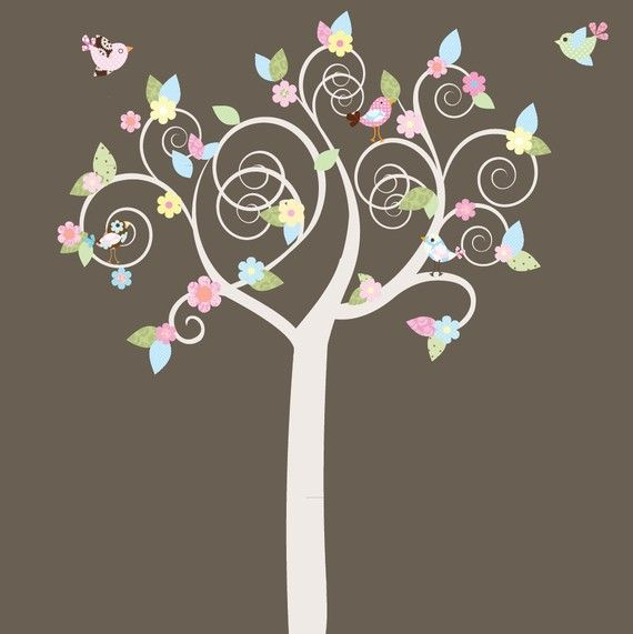 Swirl Tree Pattern Leaves Flowers Birds Vinyl Wall Decal Sticker