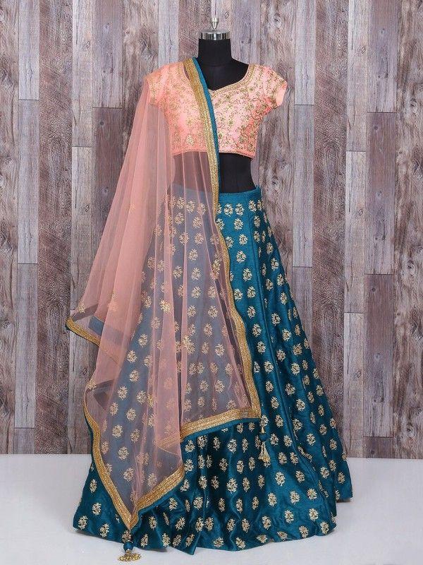 Rama Blue Raw Silk Wedding Wear Lehenga Choli