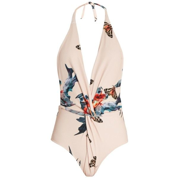 Katie Eary Fish-print twist-front swimsuit ($230) ❤ liked on Polyvore featuring swimwear, one-piece swimsuits, swimsuits, beige multi, plunge one piece swimsuits, v neck halter top, halter bathing suit tops, halter one piece swimsuit and swimsuit swimwear