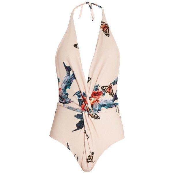 Katie Eary Fish-print twist-front swimsuit (735 BRL) ❤ liked on Polyvore featuring swimwear, one-piece swimsuits, swimsuits, swim, bikini, beige multi, halter one piece swimsuit, bikini one piece swimsuit, bikini bathing suits and one piece swimsuit