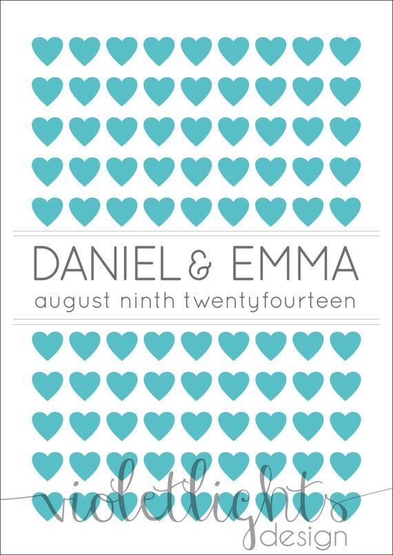 Hearts Guestbook Page Names Centred  Digital by VioletLightsDesign, $35.00