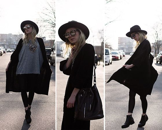 Get this look: http://lb.nu/look/8079864  More looks by Annette  Zer: http://lb.nu/annettezer  Items in this look:  Dressin Silver Necklace, Cn Direct Sunglasses, Tom Tailor Black Leather Bag, Gina Tricot Wool Black Cardigan, Primark Black Hat, Deal Sale Black Leggings   #edgy #grunge #street #grungechic #berlin #boots #black #blackleather #leather