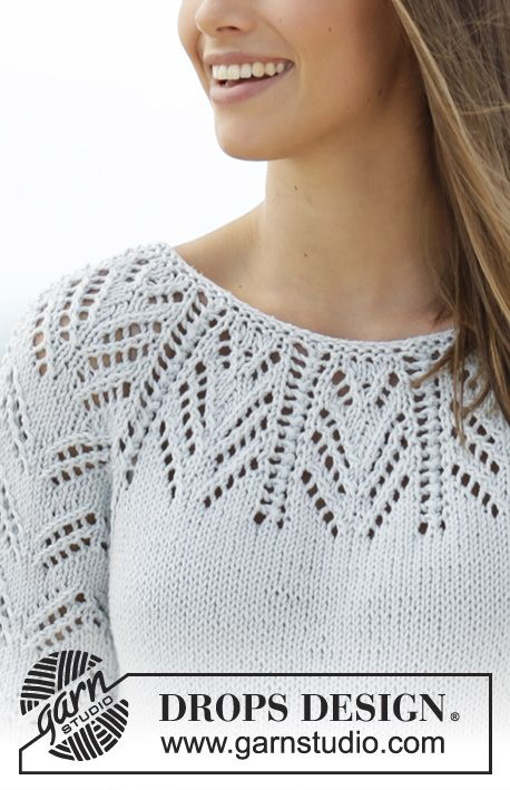 Tunic with lace pattern, raglan and ¾ sleeve, worked top down in DROPS Paris. Size: S - XXXL Free pattern by DROPS Design.