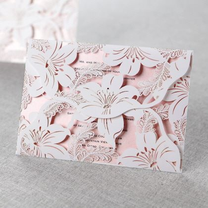 Lily Blossoms Laser Cut Wrap by B Wedding Invitations I say yes to this invitation! I love it!