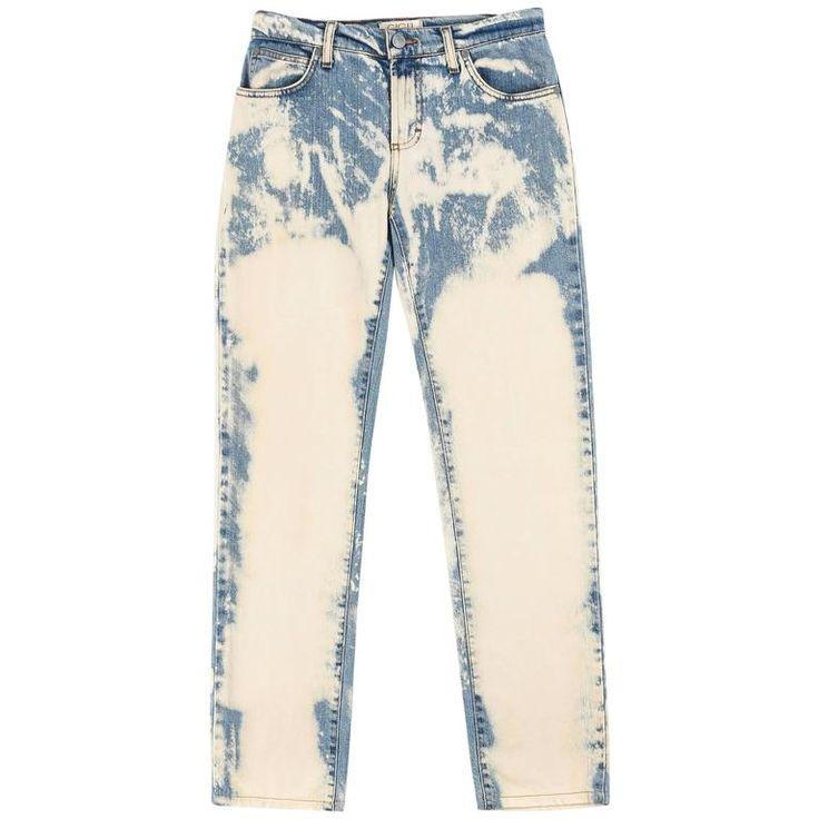 ROMEO GIGLI by ALEXANDER McQUEEN Bleach Wash Straight Leg Denim Blue Jean Pants