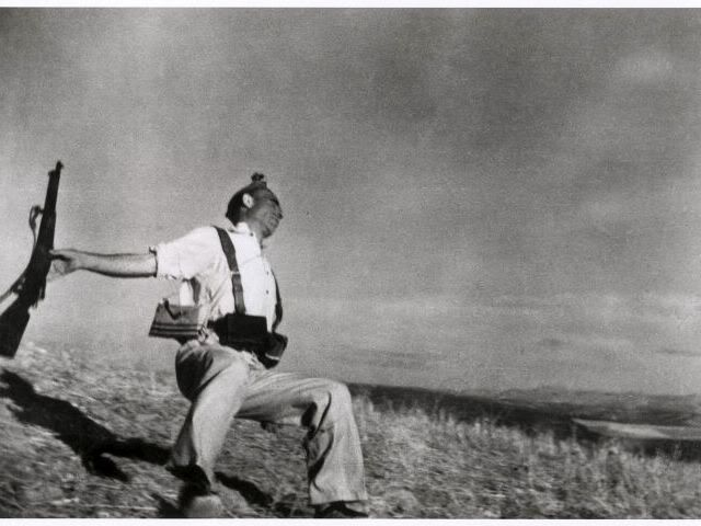 robert capa explains the photograph (from the Guardian) http://www.theguardian.com/artanddesign/audioslideshow/2013/oct/29/robert-capa-spanish-civil-war